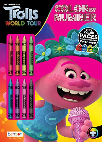 Trolls DreamWorks World Tour 32-Page Color by Number Activity Book with 8 Crayons 47361 Bendon