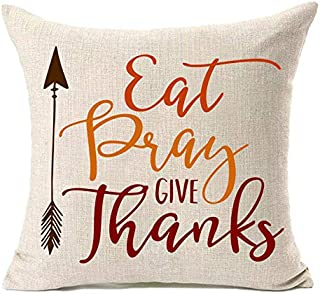 FAZHISHUN Fall Decor Cotton Linen Home Decorative Eat Pray Give Thanks Thanksgiving Day Throw Pillow Cover Cushion Cover for Sofa Couch,18
