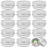 Cisolen 15 Piezas Tarros de Aluminio Latas de Aluminio Redondo con Tapón de Rosca para Bálsamo Labial Cremas Cosméticos Especias Velas 10ml