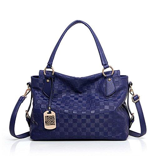 DEERWORD Damen Handtaschen Schultertaschen Umhängetasche Tornistertaschen Top-Griff Tragetasche Leder Blau