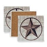 PANILUR Tapis de Tasse à caféTema ad Ovest Americano del Muro di Mattoni Dipinto Rustico Rustico di Texas Star,Sous verre en céramique