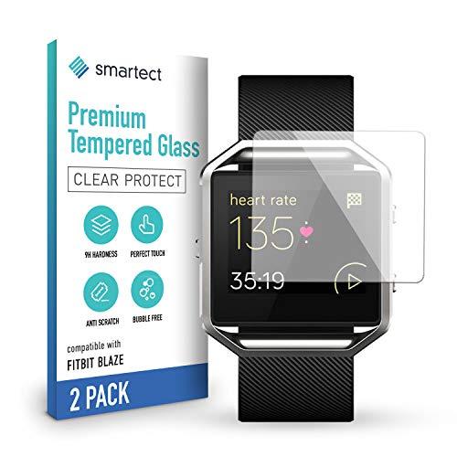 smartect Schutzglas kompatibel mit Fitbit Blaze [2 Stück] - Tempered Glass mit 9H Härte - Blasenfreie Schutzfolie - Anti-Kratzer Displayschutzfolie