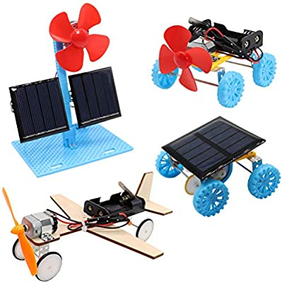 4 in 1 Solar Power & Electric Motor STEM Kits,Science Experiment Projects for Kids Beginners,Electronic Assembly Solar Powered Toy Kit,DIY Educational Engineering Experiments for Boys and Girls