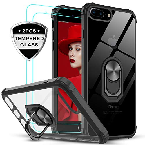 LeYi für iPhone 7 Plus/8 Plus Hülle mit Panzerglas Schutzfolie(2 Stück), Ringhalter Schutzhülle Crystal Clear Acryl Cover Bumper Handy Hüllen für Case Apple iPhone 8 Plus/7 Plus Handyhülle Schwarz