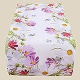 Kamaca Serie FRÜHLINGSZAUBER hochwertiges Druck-Motiv mit Blumen EIN Eyecatcher in Frühling Sommer (Tischläufer 40x90 cm)