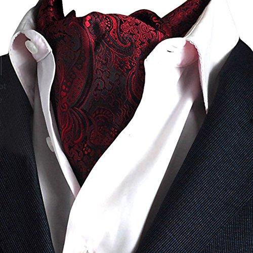 YCHENG Herren Krawattenschal Elegant Blumenkleid Ascot Seidenschal Paisley Jacquard Anzug Zubehör Rot 100-135cm