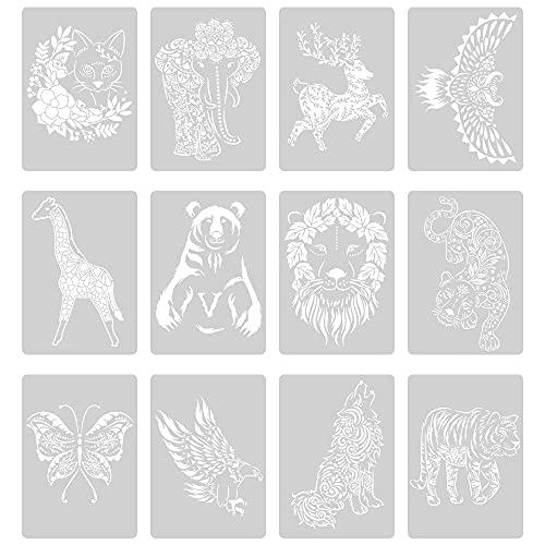 Swetup Tiermalerei Schablonen,12 Pack 21cm*29cm Tiere Malschablonen, Tierschablonen Kinder, Zeichenschablonen, Schablonen Tiere Malen für Scrapbooking, Fotoalbum, Geschenkkarten,Geschenke Kinder