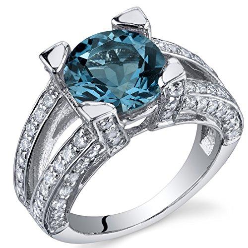 Peora Mujer Plata de ley (925/1000) plata de ley redondo azul topacio