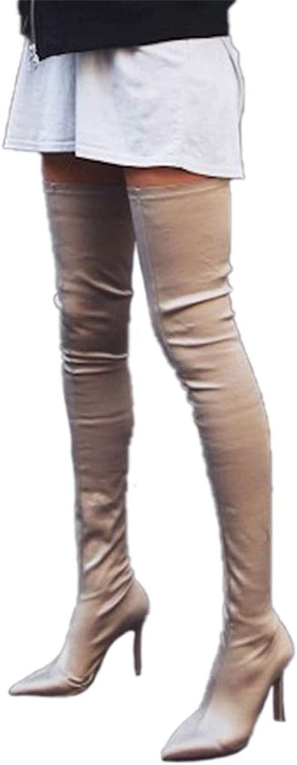 Thigh High Boots Fashion Over The Knee Elastic Stretch Boots Women Sexy Thin High Heels Sock Boots