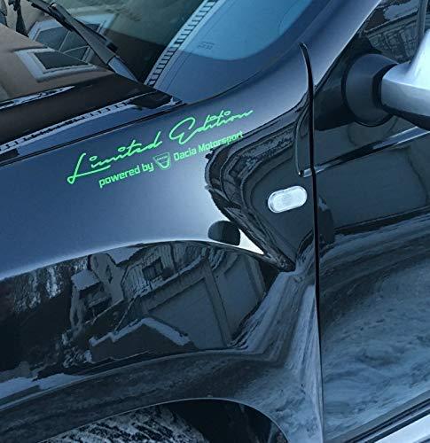 Generic Limited Edition Powered by Dacia Motorsport Auto Aufkleber Sticker (gelbgrün/hellgrün Glanz)