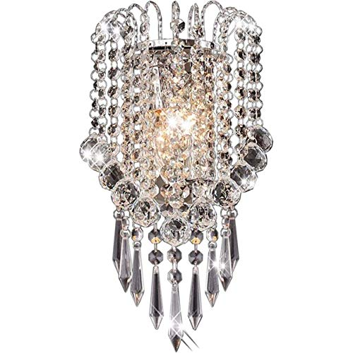 ZHLJ Lámparas de Pared con Gotas de Cristal, Bombilla E14 de 2 Piezas, 7,1 x 12,6 Pulgadas