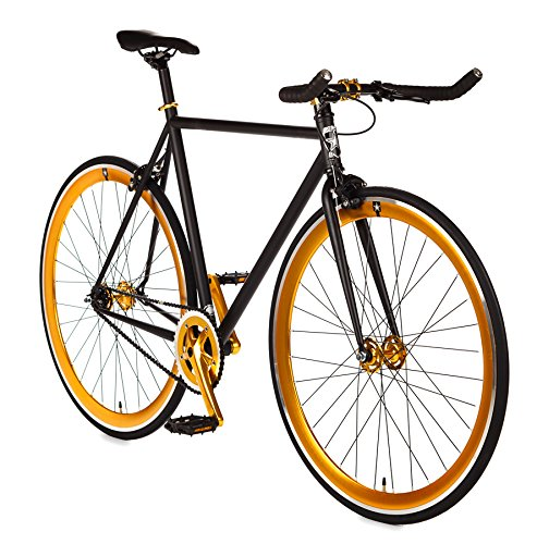 Big Shot Bikes | Blackout Gold | Track Bike | Single Speed or Fixed Gear | Fixie | Custom Fixed Gear Bikes | Matte Black & Gold Accents | 4130 Chromoly | Medium