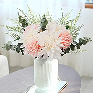 YUYAO Artificial Flowers Bouquet Fake Silk Dahlia Chrysanthemum Flowers with Greenery Arrangement for Office Home Table Party (White)