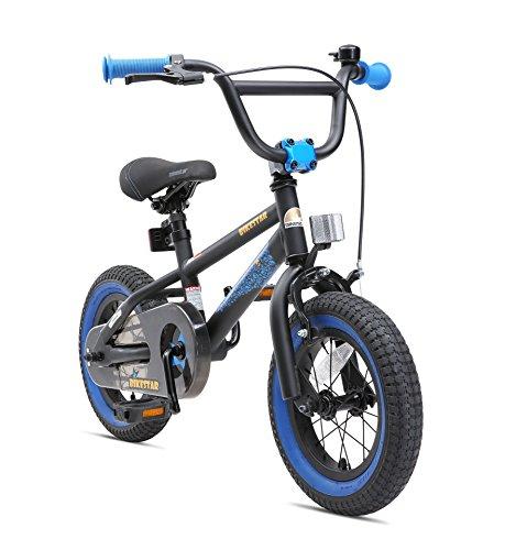 BIKESTAR Kinderfahrrad für Mädchen und Jungen ab 3-4 Jahre | 12 Zoll Kinderrad Kinder BMX Freestyle | Fahrrad für Kinder Schwarz & Blau | Risikofrei Testen
