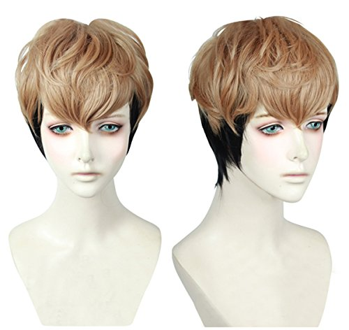 Cfalaicos Sangwoo Wig Men's/Boy's Short Golden Brown Black Mixed Cosplay Wig
