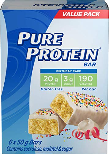 Pure Protein Bars, Gluten Free, Snack Bar, Birthday Cake, 50 gram, 6 count