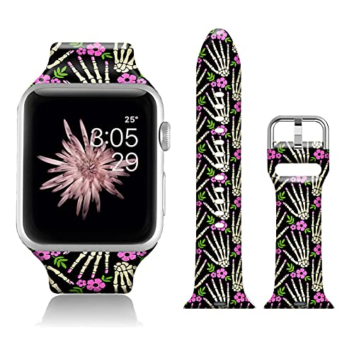 Halloween Floral Sport Bands Compatible with iWatch 42mm/44mm Halloween Bones Floral for Women Men, FTFCASE Flower Printed Soft Silicone Strap Replacement for iWatch SE Series 6/5/4/3/2/1