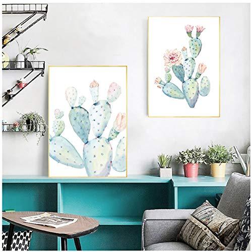 nr Nordic kunstdruk pastel aquarel cactus canvas schilderij poster Botanische muurkunst foto's voor woonkamer wooncultuur 50 x 70 cm geen lijst