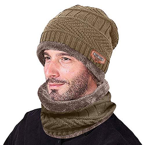 MdsfexixianxinquWintermütze Herrenhüte Warmer Hutloser Winter Verdickter Hut Schal Zwei Stück 2 in 1 Strick Winddichte Mütze - Khaki,