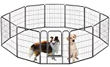 Bosely Durable Foldable Large 12 Metal Panels Pet Exercise Pens Dog Playpen, Black Cage