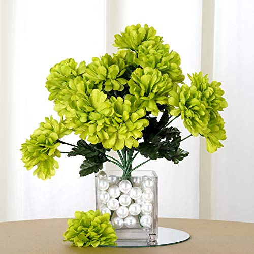 Efavormart 84 Artificial Chrysanthemum Mums Balls for DIY Wedding Bouquets Centerpiece Party Home Decoration Wholesale - Lime Green