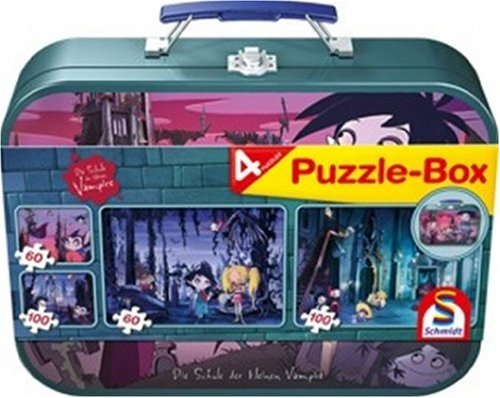 Schmidt Spiele 55592 - Puzzle Box im Metallkoffer Lizenz, Die Schule der kleinen Vampire, 2x60, 2x100 Teile