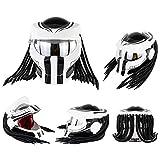 Casco Moto, Casco Integral Depredador con Luces LED Y Lentes Plateadas, Unisexo Carcasa De Material ABS Capa De Búfer EPS (M, Blanco)
