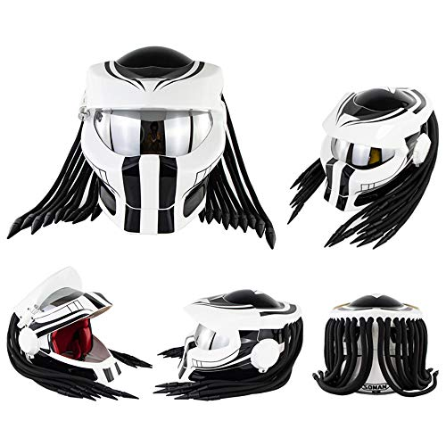 Motorradhelm, Predator Integralhelm Mit LED-Leuchten Und Versilberten Linsen, Unisex ABS-Material Schale EPS-Pufferschicht (M, Weiß)