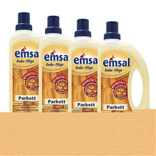 4x emsal Boden-Pflege Parkett 1 Liter mit Bioprotect - Aufquellschutz, Sauberkeit & Seidenglanz