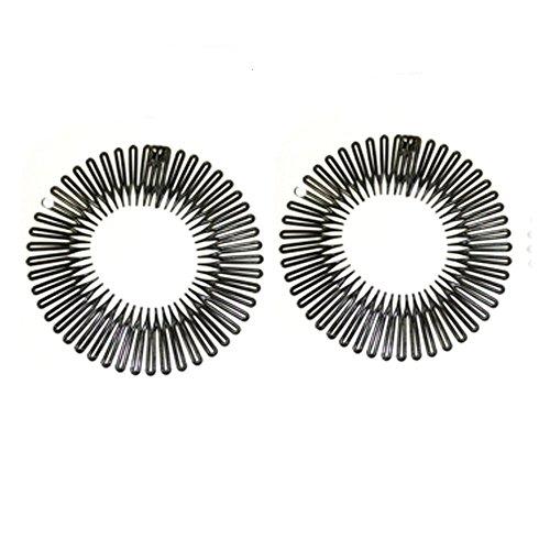 Coppia di flessibile fascia per capelli pettini 4,5pollici, colore nero