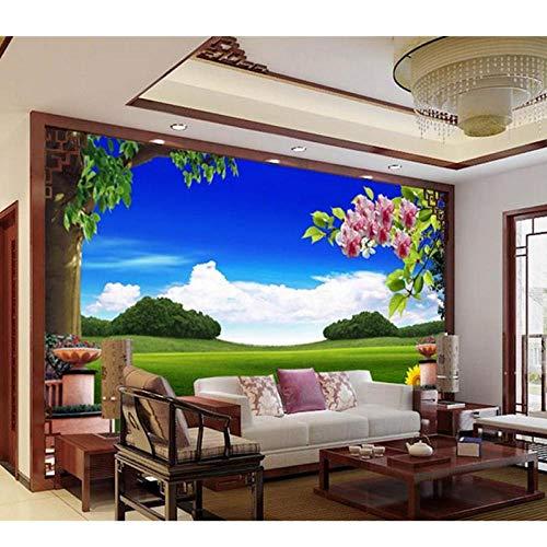 3D kamer foto behang muurschildering niet-geweven, muur sticker kleine vers groen bos plant TV instelling muur 3D muurschilderingen, behang 208 cm (B) x 146 cm (H)