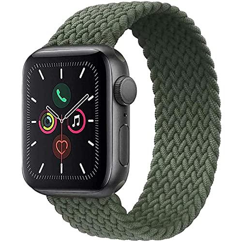 Correa de nailon para Apple Watch de 42 mm, ajustable, trenzada, elástica, deportiva, para iWatch Serie SE/6/5/4/3/2/1, verde militar