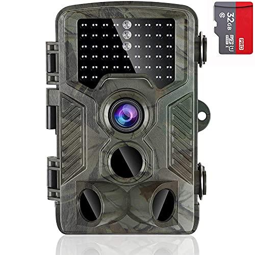 AlfaView Wildkamera 1080P Wildlife Pfadpfinder Jagdkamera Motion Bewegungsaktiviert Nachtsichtspiel Cam mit 2,4 Zoll LCD Display IP56 Wasserdichtes Design für Jadg und Heimsicherheit (Tarnung)