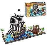 LIRONG Piratas Buque Building Block, DIY Modelo Ciudad Barracuda Bahía Booty Dock Sailboat Ladrillos Educación Juguetes para Niños