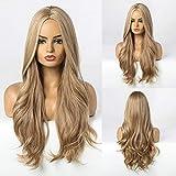 HAIRCUBE Lange lockige blonde Perücke Mitteltrennperücken Natürliche synthetische Perücken...