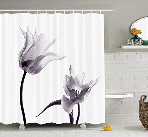 gwegvhvg Haus Dekor Duschvorhang von Close Up Digital gesättigte Tulpenblüten mit minimalistischen verblassten Effekt Artsy ImageStoff Badezimmer Set mitlila & weiß