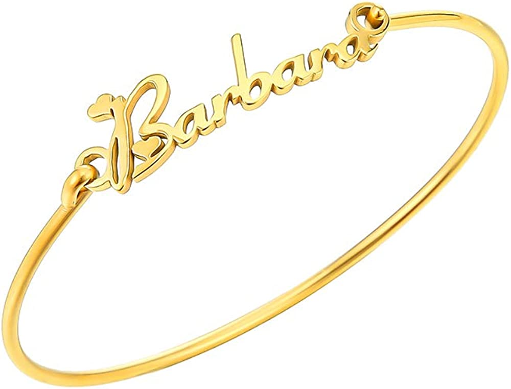 TUSHUO 26 English Letters Name Automatic Retractable Simple Bangle Gold-Plated-Base Barbara