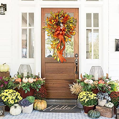 Ghirlanda per esterni con fiocco autunnale per il giorno del Ringraziamento, ghirlanda di zucche autunnali, decorazione per la casa, corona di zucca, corona di zucca, corona di autunno per porta