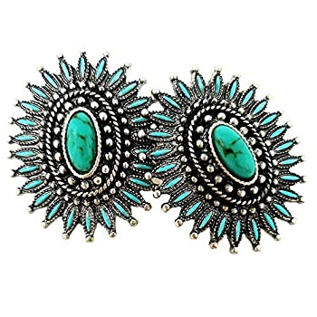 Emulily Western Turquoise Squash Blossom Post Earrings Navajo