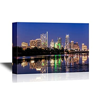 wall26 USA City Skyline Canvas Wall Art - Beautiful Austin Skyline Reflection at Twilight, Texas - Gallery Wrap Modern Home Decor | Ready to Hang - 32x48 inches
