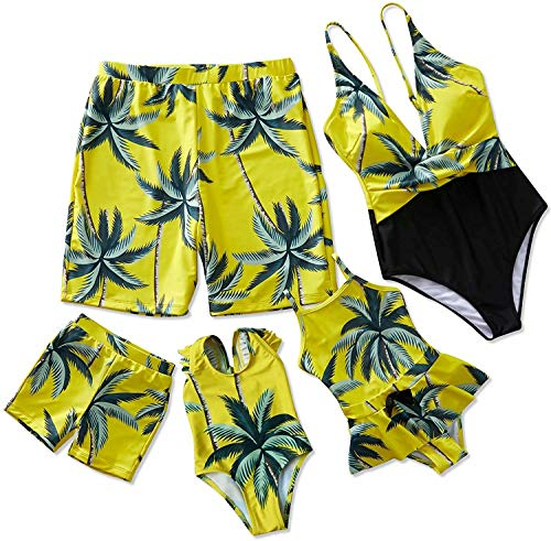 IFFEI Mommy and Me Swimsuit One Piece Coconut Tree Printed V Neck Family Matching Swimwear Girls: 6-7 Years