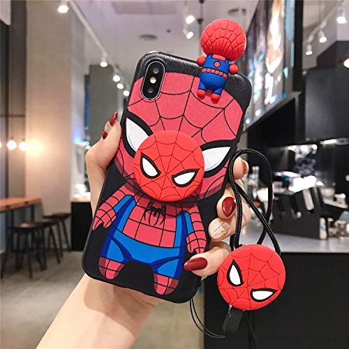 [MOQINO] Batman Captain America Iron Man Spider Man for iPhone Case Holder Stand Strap Soft TPU Case Cover Phone Case (Spider Man,for iPhone 7 Plus/ 8 Plus)