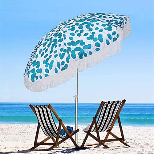 YIZHIYA Sombrilla de Jardín, Parasol inclinable para Patio de Playa con borlas Azules, Paraguas Decorativos del Patio al Aire Libre a Prueba de Lluvia a Prueba de Viento del Parasol