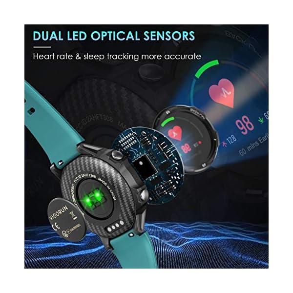 Vigorun Smartwatch Reloj Inteligente Hombre Mujer, Pantalla Táctil Completa Relojes Deportivos, Monitor Ritmo Cardíaco y… 3