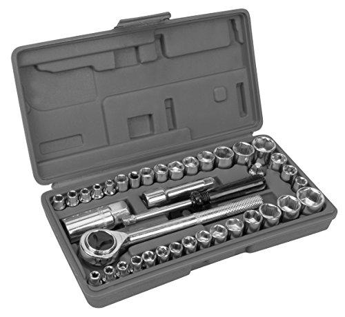 Performance Tool W1173 SAE/Metric 40-Piece SAE and Metric Socket Set, 1/4
