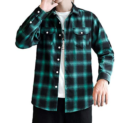 Camisa con Estampado de Cuadros a Rayas para Hombre, decoración de Bolsillo, Ajuste Relajado, cómoda Chaqueta de Manga Larga Medium