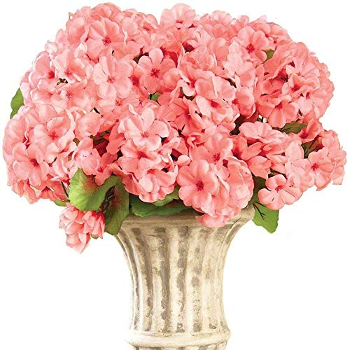LXESWM Artificial Flowers For Decoration Artificial Geranium Floral Bush, Set Of 3 - Maintenance Free Artificial Flowers For Indoor Or Outdoor Display, Use 3 Bouquets Separately Or Combine All 3, Red