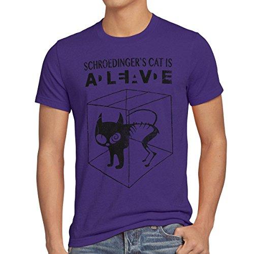 style3 Gato de Schrödinger Camiseta para Hombre T-Shirt Sheldon, Talla:M;Color:Morado