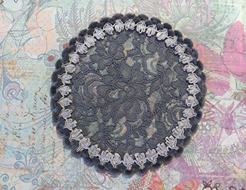 Handmade dark grey lace doily head cover with unique furry trim (with decorative bobby pin) (Style 814) Elegant Doily Exclusive