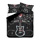 Ropa de Cama Guitarra Agua Fuego 3D Juego de Cama Música Rock Hippie Funda de edredón y Funda de Almohada, Infantil Chico Chica Funda nórdica con Cremallera (Guitar 5, 150x200 cm - Cama 90 cm)